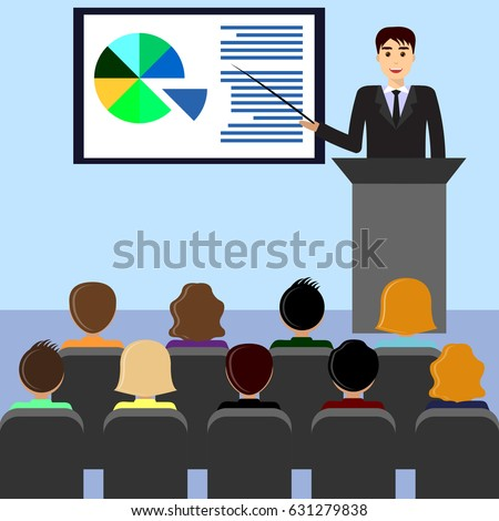 Businessman in a suit with a tie gives a lecture, presentation, leads the seminar, behind the podium. Training staff, meeting, report, business school. Illustration in flat style.