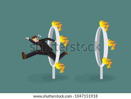 Businessman in black suit jumping over a series of fiery burning hoops. Concept of the danger or challenge he have to overcome to become successful. Vector illustration.