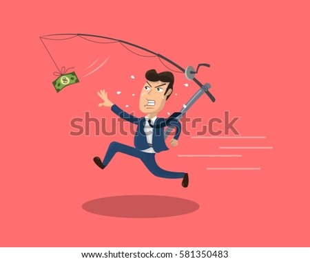 Businessman in blue suit chasing money running after a dollar bill that hangs from a fishing rod.
