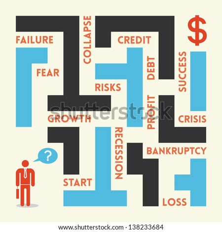 Businessman in business labyrinth. There are a lot of traps in labyrinth - fear, failure, collapse, credit, debt, profit, risk, recession, loss, bankruptcy, loss, crisis, profit and success.
