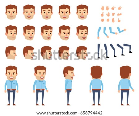 Businessman in casual outfit creation set. Various gestures, emotions, diverse poses, views. Create your own pose, animation. Flat style vector illustration