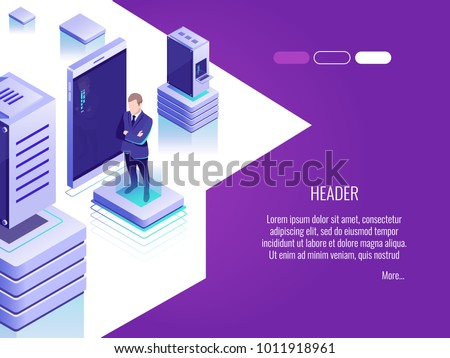 Businessman in data center room.Concept of hosting server and computer database.Vector concept header in Isometric style