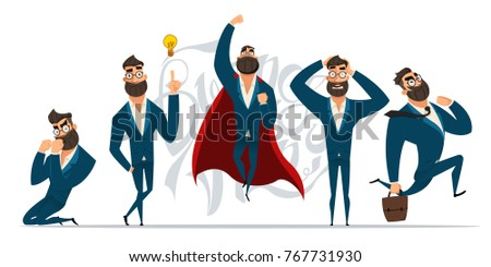 Businessman in different emotions and expressions. Businessperson in casual office look.