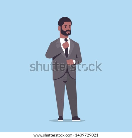 businessman in formal wear standing pose smiling male cartoon character african american business man office worker posing flat full length