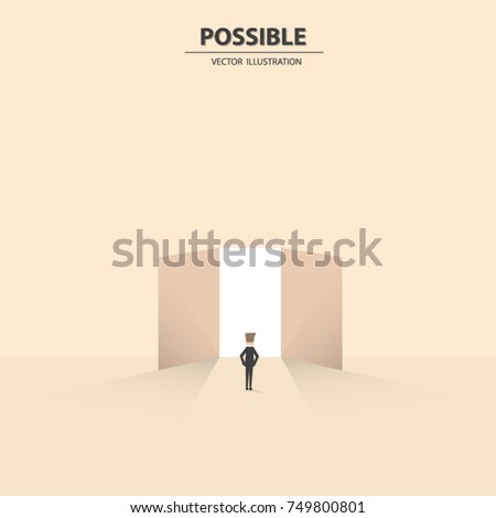 Businessman in front of the opened door showed that nothing impossible. Business concept of possibility, challenge and success. Vector illustration.