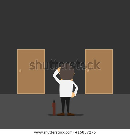 businessman in front of two