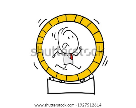 Businessman in hamster wheel - Man working hard in meaningless job, feeling useless, stressed and having no progress. Stuck in rut concept. Vector illustration. Foto stock ©