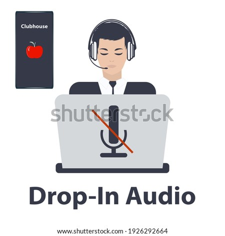 Businessman in headphones, computer, crossed out microphone, Mobile phone with the image of a red apple - isolated on white background - vector. Audio chat social network application. Club house