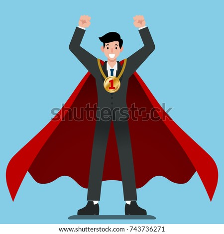 businessman in red cape get
