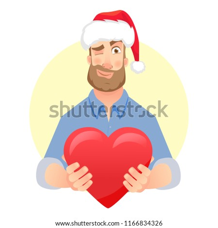 Businessman in Santa Claus hat. Man gives heart. Gift giving vector illustration