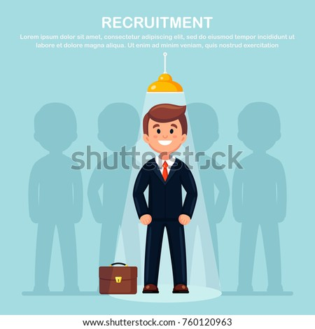 Businessman in spotlight isolated on background. Curriculum, recruitment, HR, human resources management   concept. Pick business people to hire. Candidate man for contract job. Vector flat design