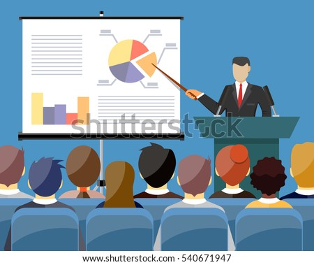Businessman in suit and tie making presentation explaining charts on a white board. Business seminar. Flat style vector illustration