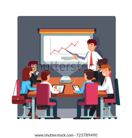 Businessman in suit and tie making presentation explaining charts on conference room white board. Business seminar, planning meeting. Flat style vector illustration isolated on white background.