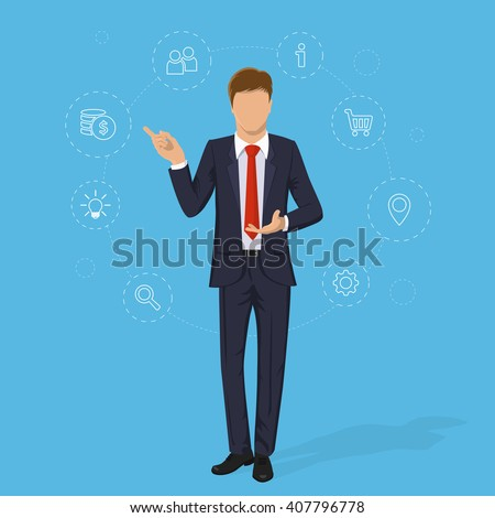 Businessman in suit. Business concept with icons. Cartoon Handsome successful  man without face. Portrait of Full length. Flat design vector illustration isolated on blue background