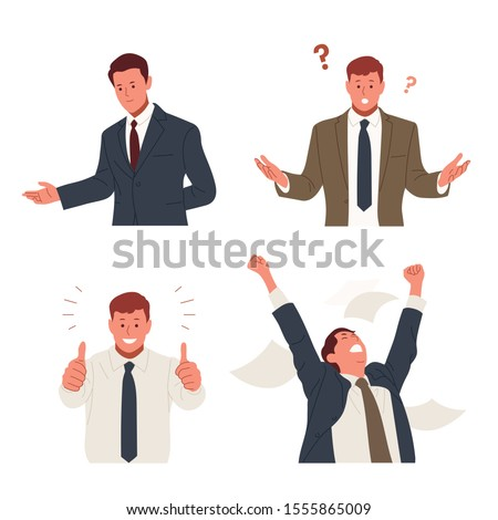 Businessman in suit is doing various gestures. Guiding hand gestures, curious expressions and hand gestures, thumbs up, hurray gestures. hand drawn style vector design illustrations.