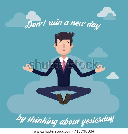 Businessman in suit meditating in lotus pose in clouds for analytical thinking and mental peace. Innovation, growth, mindfulness, business concept illustration vector.