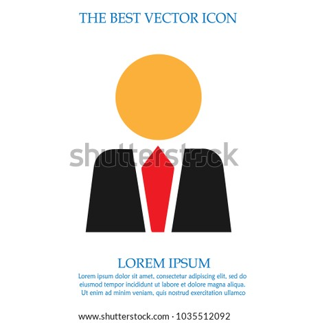 Businessman in suit silhouette. Vector icon.