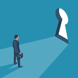 Businessman in suit standing in front of keyhole. Solution to problem business concept. Man looks at open opportunities. Male walking go to goal. Vector illustration isometric design.