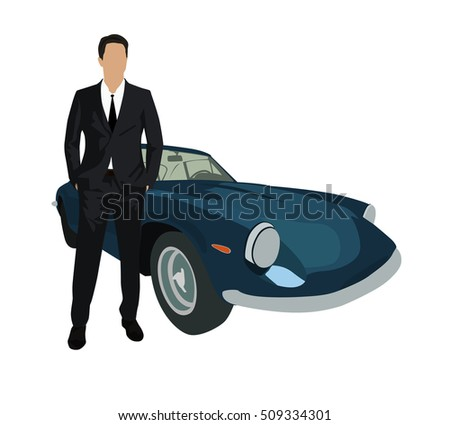 Businessman in suit standing next to dark old sport car. Man with luxury car. Vector illustration