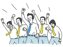 Businessman in teamwork, clenched fist raising in the air with cheering happiness expression. Success, winning, happy, celebration, motivation concept. Outline, linear, thin line art design.