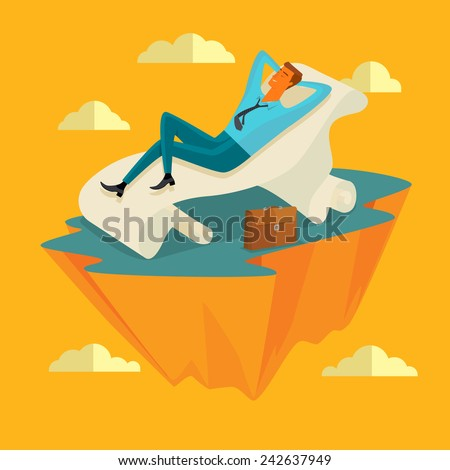 businessman in the sky position