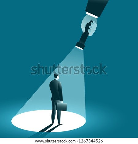 Businessman In the spotlight. A hand holding a flashlight pointing at standing manager. Business concept. Vector illustration