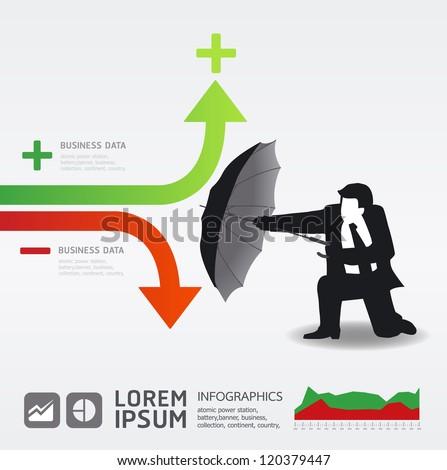 Businessman in Umbrella creative Finance safe idea  / Vector illustration. concept