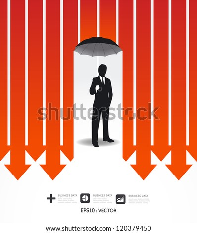 Businessman in Umbrella creative Finance safe idea  / Vector illustration. concept