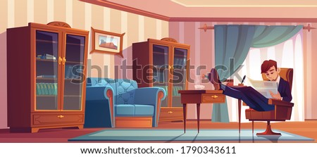 Businessman in vip cabinet reading finance news in newspaper and drinking coffee at morning. Man in formal suit sitting with legs on bureau table read finance publication. Cartoon vector illustration Stockfoto ©