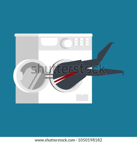 businessman in washing machine