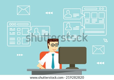 Businessman interactions by social media with business partners - vector illustrations