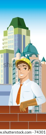 Businessman is building skyscrapers