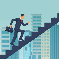 Businessman is climbing career ladder on background of a big city. Concept development. Vector illustration flat design. Step by step. Human in a suit with a briefcase runs down stairs.