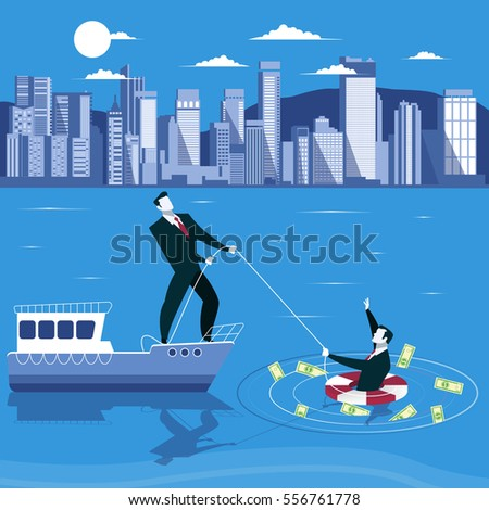 businessman is drowning and ask
