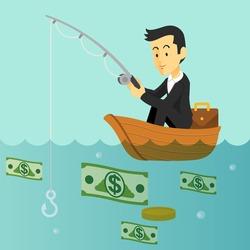 Businessman is fishing money. Vector flat illustration