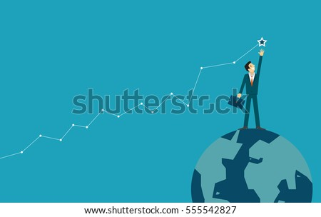 businessman is helping hand to success. business concept illustration.