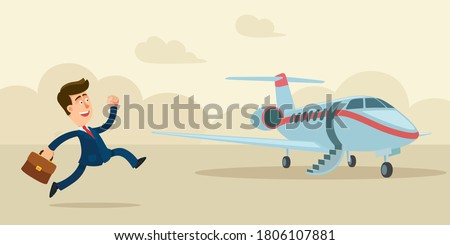 Businessman is in a hurry to catch the plane. Private business jet for vip person. Man running to airplane. Vector illustration, flat design, cartoon style. Сток-фото ©