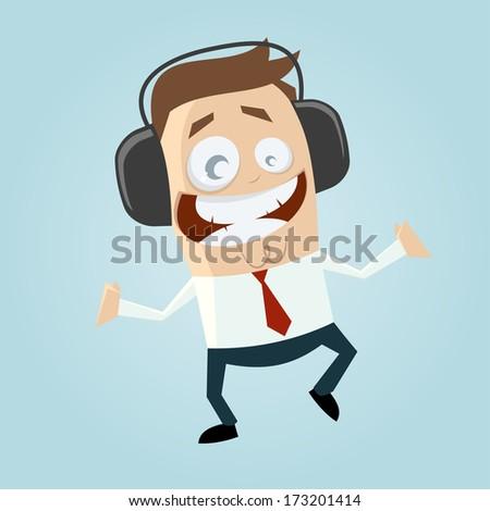 businessman is listening music