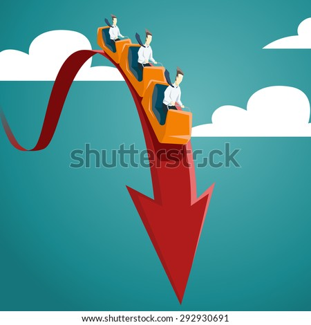 Businessman is riding on a roller coaster. Vector financial and economic crisis graph concept.