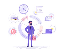 Businessman is standing and holding briefcase with office icons on the background. Multitasking and time management concept.  Effective management. Vector illustration.