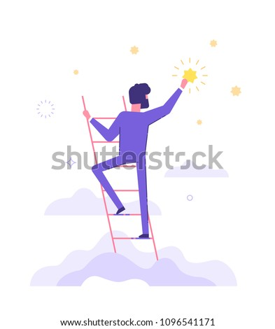 Businessman is standing on stairs and reaching star on the sky. Goals and dreams. Business and career concept. Flat vector illustration.