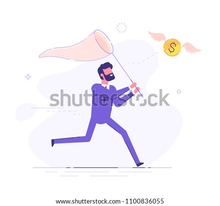 Businessman is trying to catch flying dollar coin with a scoop-net. Modern business character. Vector illustration. Foto stock ©