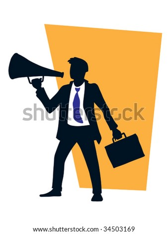 Businessman is using a megaphone. vector illustration