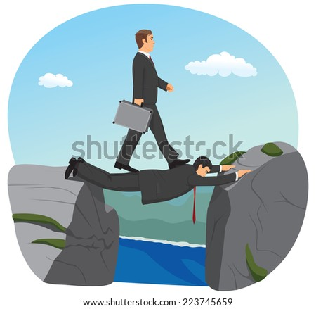 Businessman is walking over the precipice. His partner is stretched between stones and making a bridge.