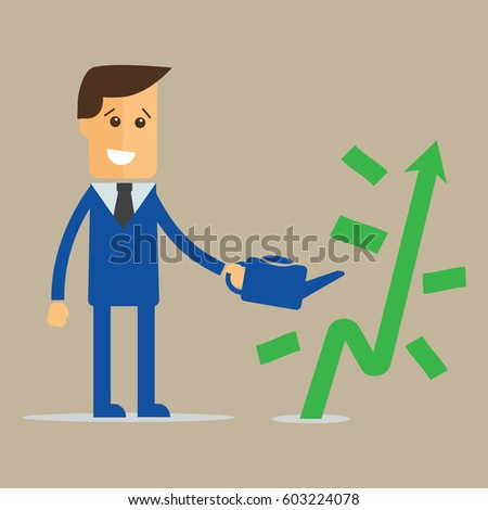 businessman is watering a tree