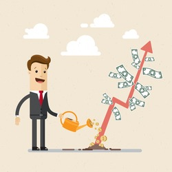 Businessman is watering a tree of money. Increase revenue, investment. Isolated illustration, flat, vector EPS10.