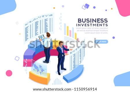 Businessman, isometric chart on device. Strategy analytics and economic. Analyze future progress on finger device. International strategy for executive network. Concept with characters. Flat isometric