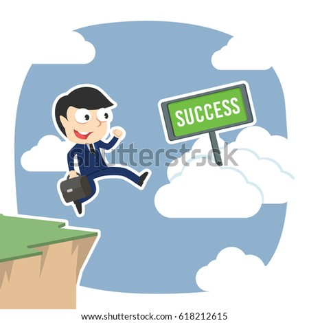 businessman jump from cliff