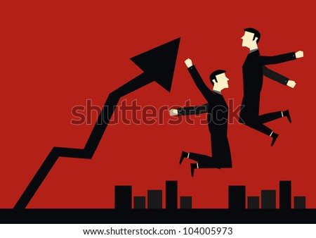 Businessman Jump Happy up chart