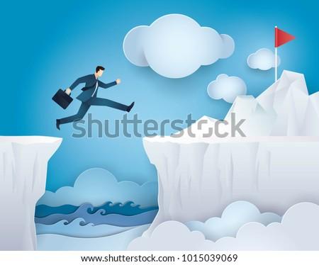 businessman jump over between